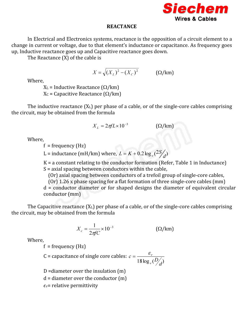 Reactance Calculation | Siechem