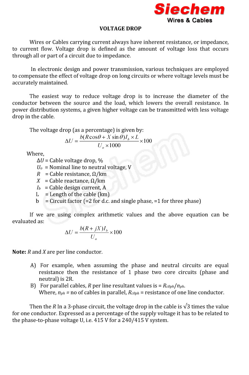 Volatge Drop Calculation Siechem Equation For Power In Circuits
