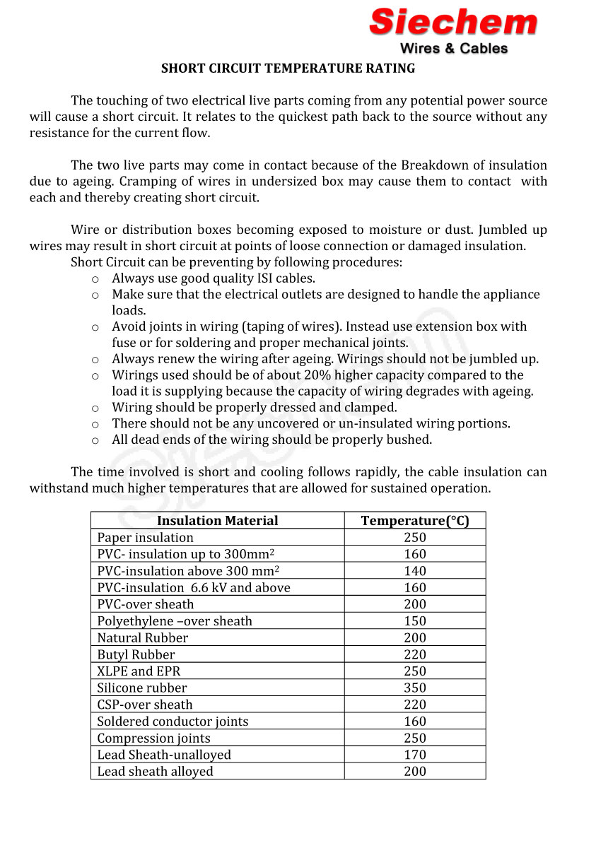 Cable Short Circuit Rating Calculation Excellent Electrical Wiring Shortcircuit Example Temperature Siechem Rh Com Basic Calculations